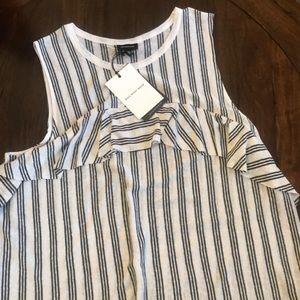 🆕 NWT White + Black striped sleeveless 🆕